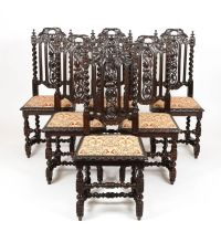 Antique Set of 6 Victorian Gothic Oak High Back Carved