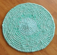Bath Rug Mat - After Dinner Mint Pastel Green Upcycled Rug ...