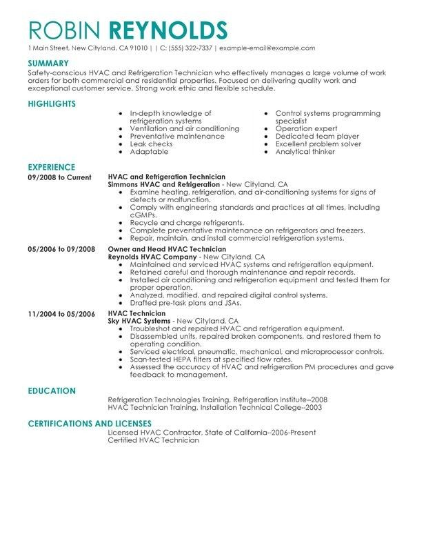 hvac resume objective examples - Examples Of Resume Objective