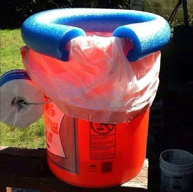 Homemade portable toilet made with a 5 gallon bucket a trash bag and a pool noodle  Good