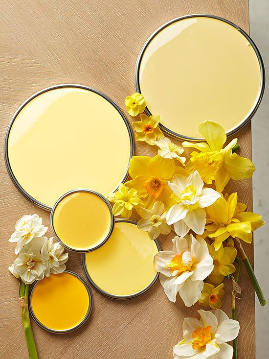"Yellows: These happy daffodil hues are a sure mood-booster. ""Im hooked on the joyous, youthful, and adventurous atmosphere yellow"