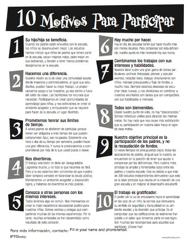 10 Reasons To Get Involved. Spanish Language. From the PTO