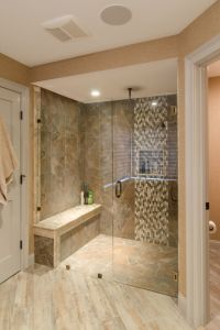 Shower Ideas - large tile shower with custom shower seat ...