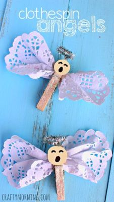Clothespin Angel Craft Using Doilies - Christmas/Religious craft for kids | CraftyMorning.com: