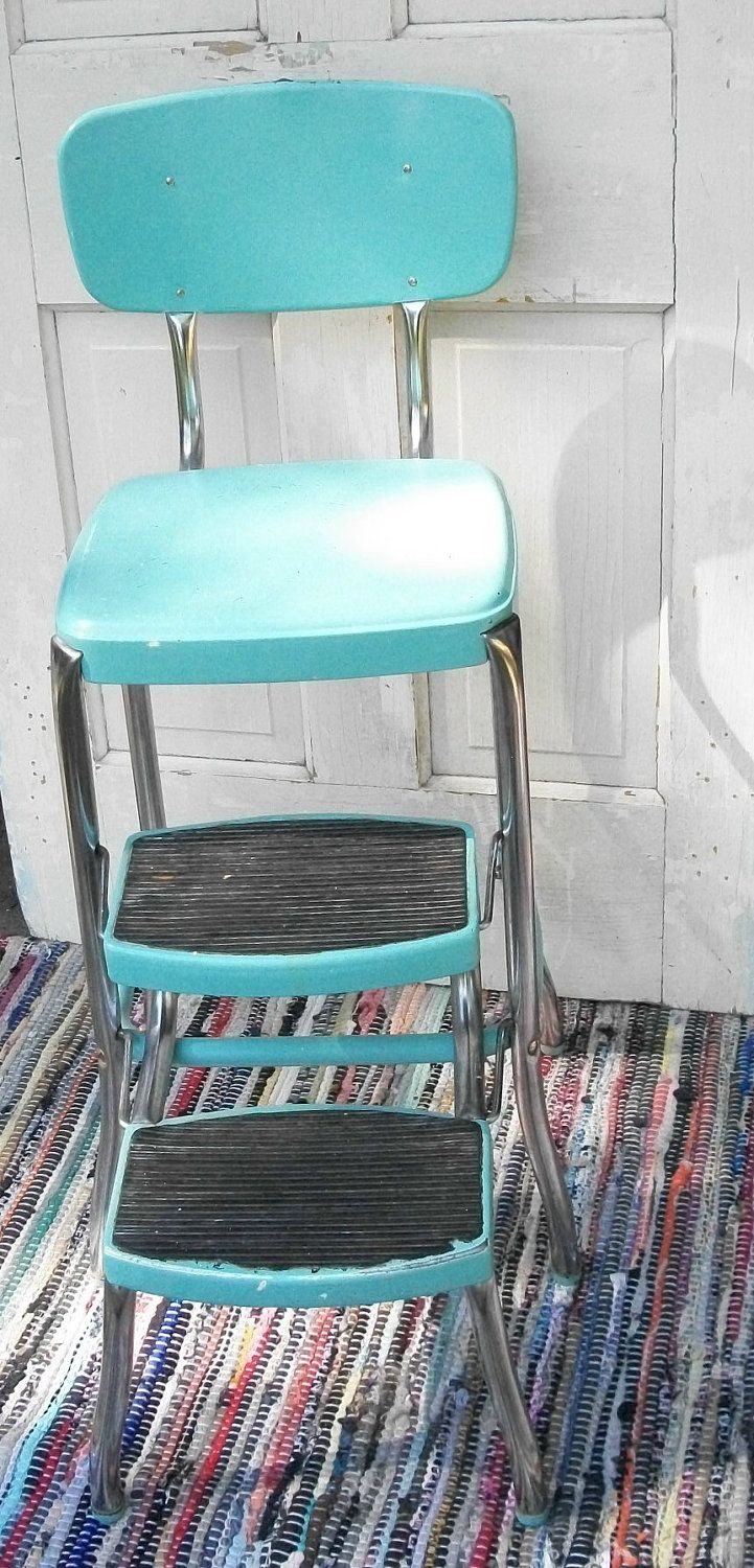 vintage cosco step stool chair swing replacement parts turquoise, stools and on pinterest