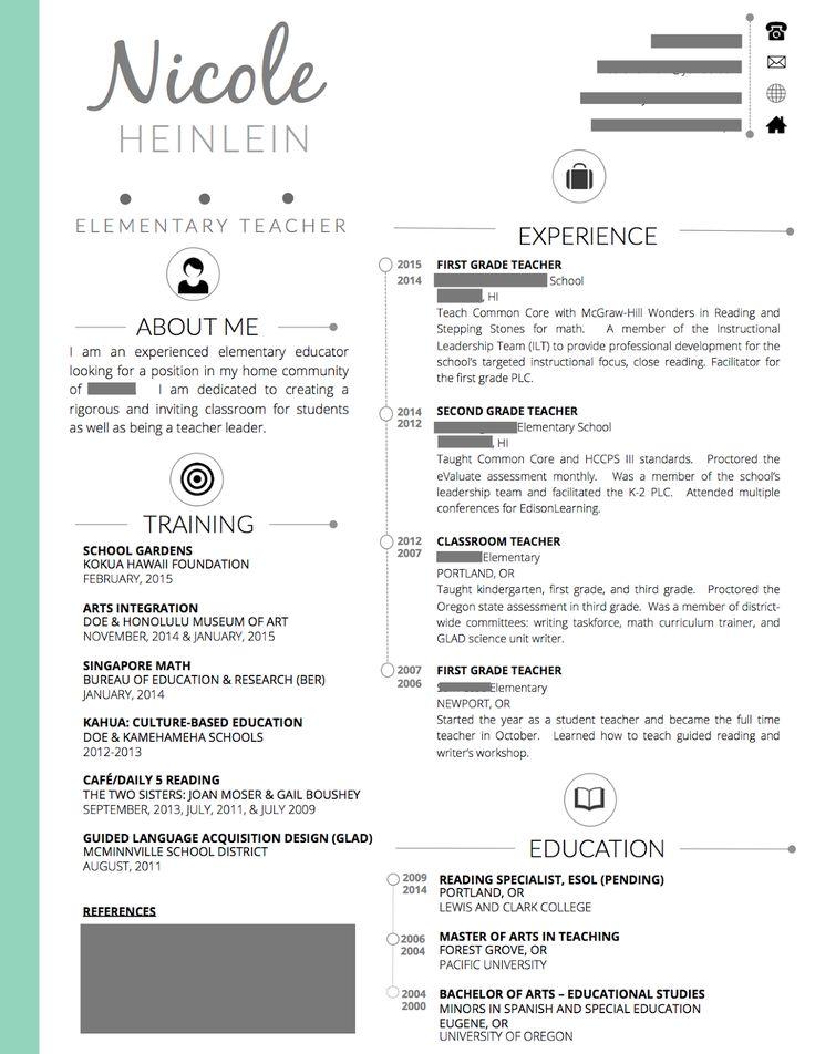 Teaching Resume Easy Resume Https Www Etsy Com Listing