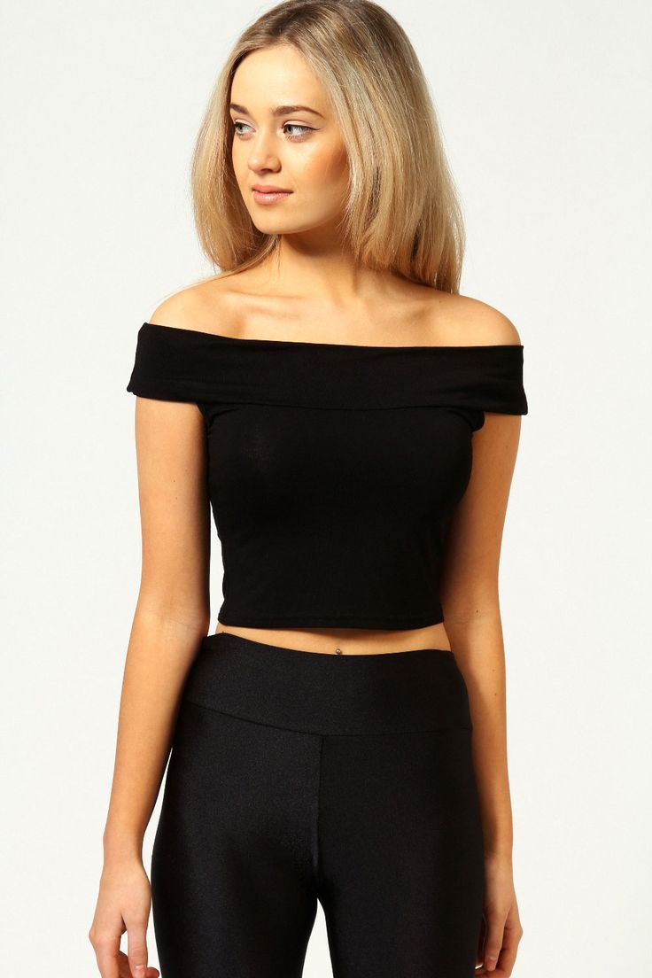 Details about Boohoo Womens Ladies Lilly Off The Shoulder Crop Bardot Top BST10  Bardot top