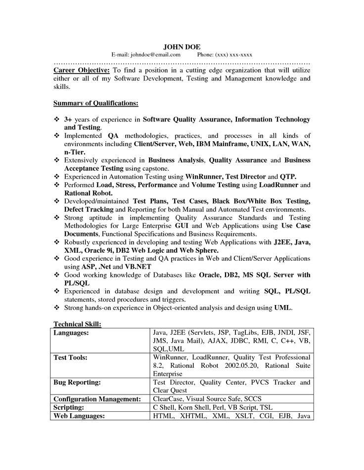 qa resume summary