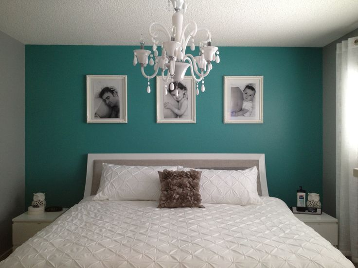 Teal Bedroom Ideas. A simple teal wall really pops in a