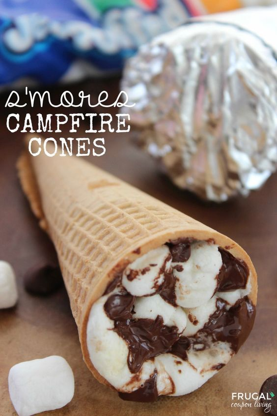 S'mores Campfire Cones – S'mores recipe outside the graham cracker box on Frugal Coupon Living. Great camp