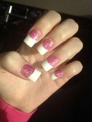 acrylic nails glitter pink french