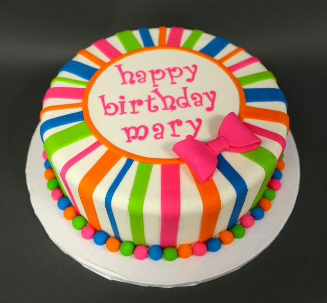 Neon Stripe Single Tier Birthday Cake This Would Be