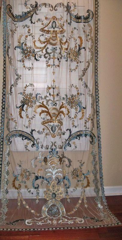 Italian Embroidered Velvet Fabric Sheer Drapes Panel