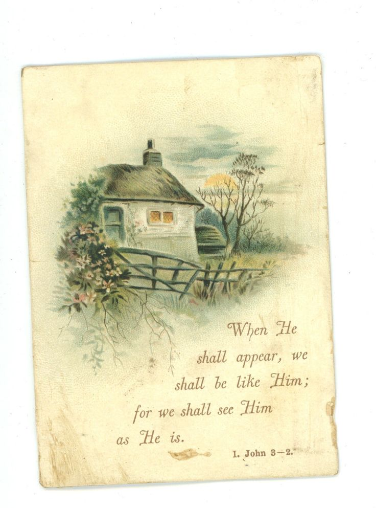 Victorian Greeting Card Religious Quote Country Cottage