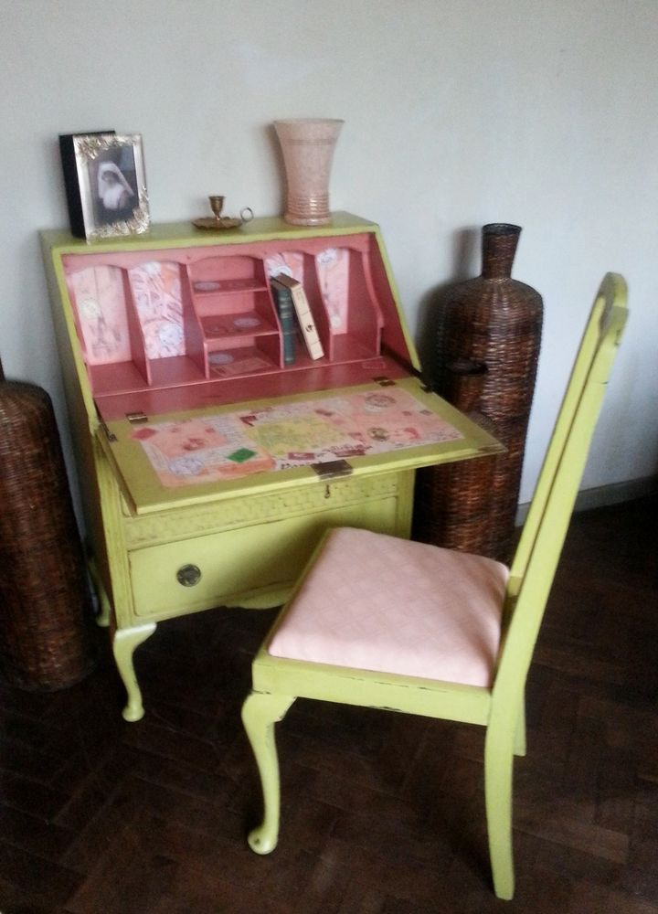 Vintage Shabby Chic Hand Painted Writing BureauLaptop DeskFREE Chair  Shabby chic Love the