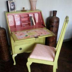 Kitchen Decoration Ideas Mobile Rental Vintage Shabby Chic Hand Painted Writing Bureau//laptop ...