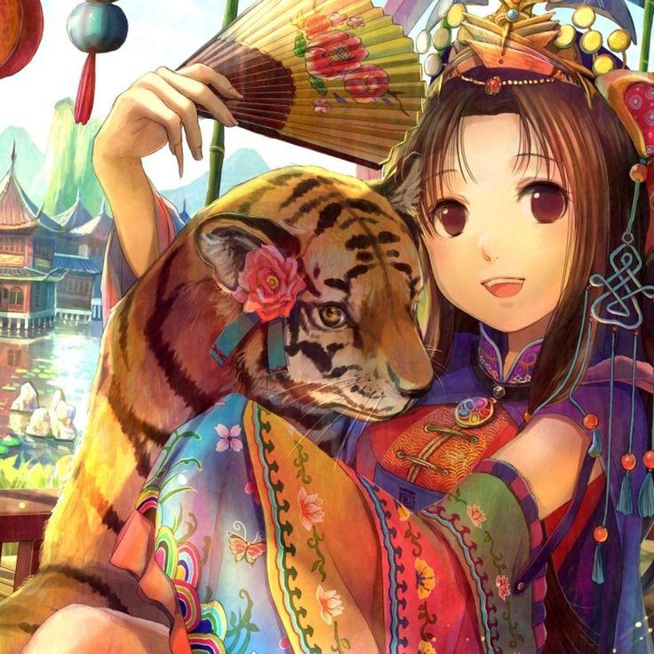Cute Neko Anime Girl Wallpaper Traditional Anime Tiger Girl Traditional Anime