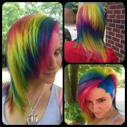 rainbow hair hot pink purple