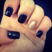 navy blue and gold sparkle nails