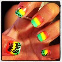 Neon ombr rasta nail art! Rastafarian gradient. One love ...
