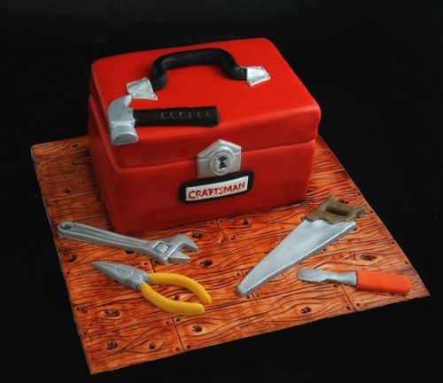 Fondant Toolbox Cake Celebration Cakes Pinterest