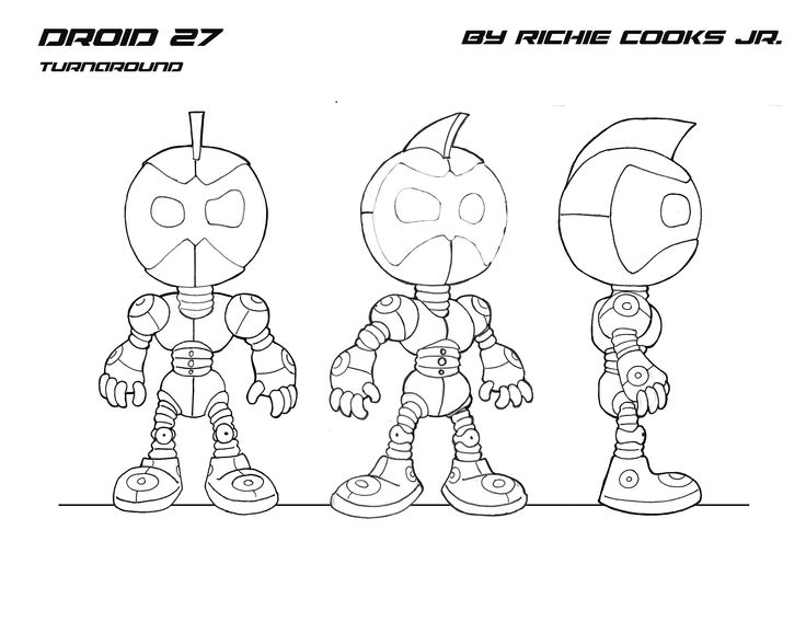 Portfolio Work/Demo Reel, Droid 27 character turnaround