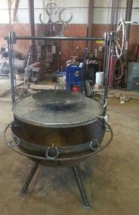 "40"" fire pit grill with fully adjustable rack. And a wok"