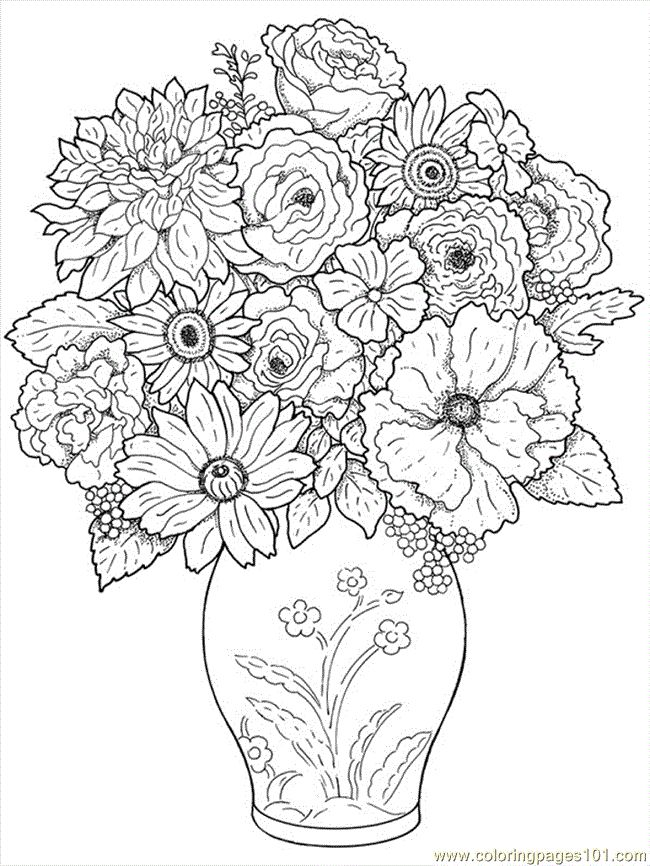 free printable coloring image Flower Coloring Pages 24 ... | online coloring pages for adults flowers