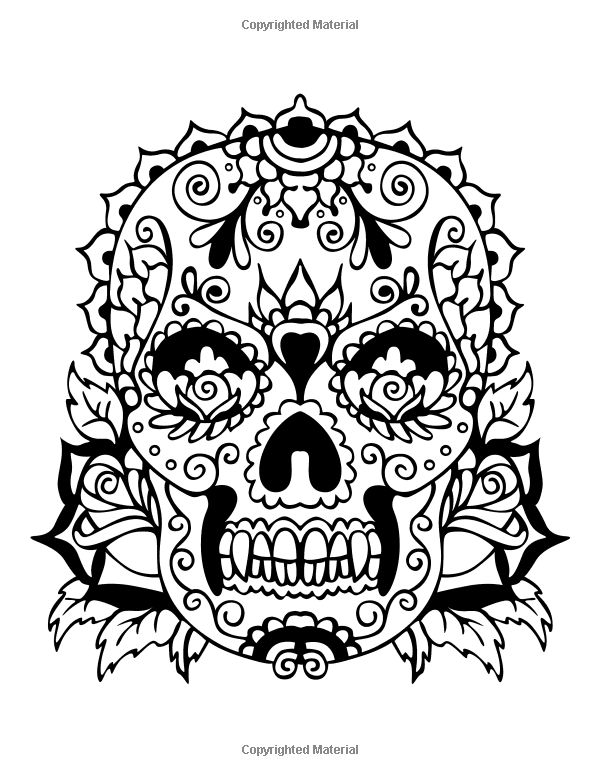 Simple Skulls And Roses Drawings Sketch Coloring Page