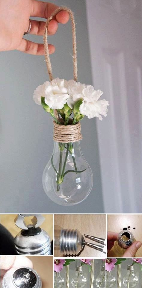 Reuse light bulbs and make a little flower vase  Reuse