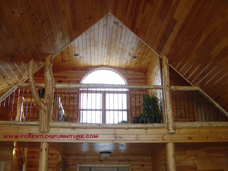 cedar log railing with wrought iron spindles  Log Decor  Pinterest  Logs Railings and