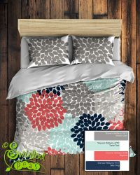 Custom Floral Bedding in Comforter or Duvet style features ...