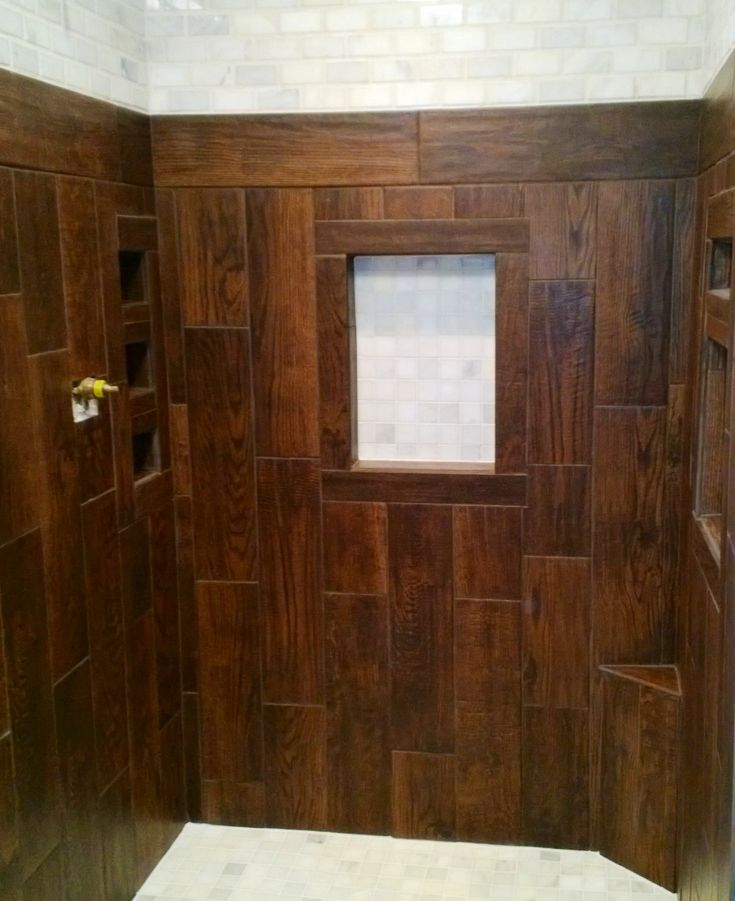 Shower stall Ceramic tile that looks like wood Also used
