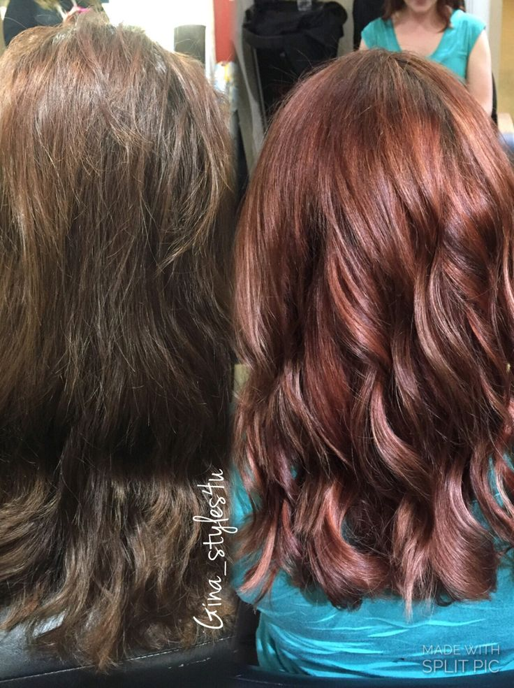 Rose gold hair color on previously brown hair color