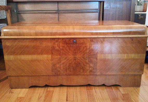 SOLD Mid Century Art Deco Waterfall Lane Cedar Hope Chest 1940s Vintage beautiful  sEmSeM