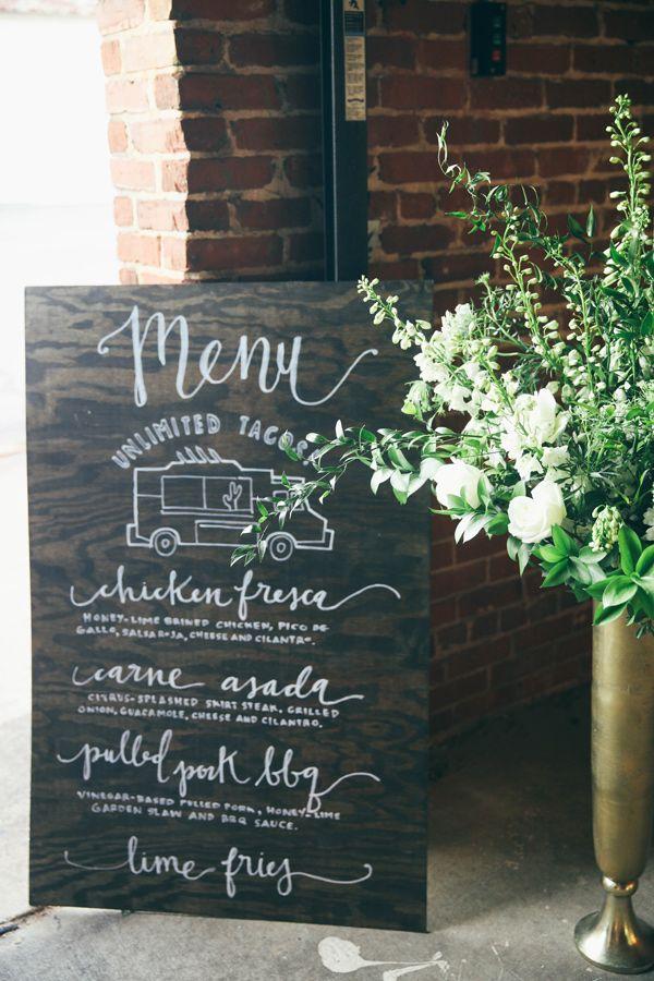 Alabama Railyard Wedding  Tacos Wedding and Food menu