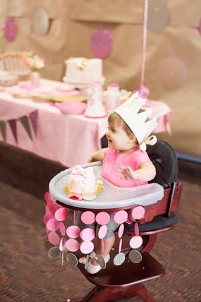 1st bday ideas… pink gold polka dot princess first birthday party ombre circle
