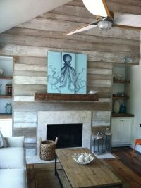 reclaimed wood accent wall/fireplace via