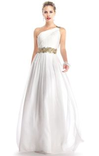 greek style long white prom dress simple wedding dress ...