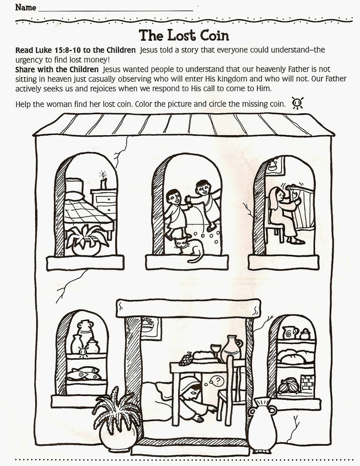 The Lost Coin Bible Story Coloring Pages
