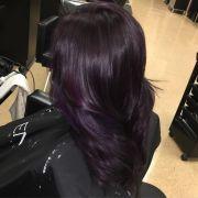 glamorous dark purple hair color