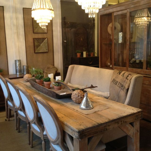 Refinished  sun bleached antique pine harvestfarm dining