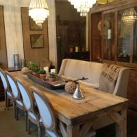 Refinished & sun bleached antique pine harvest/farm dining ...