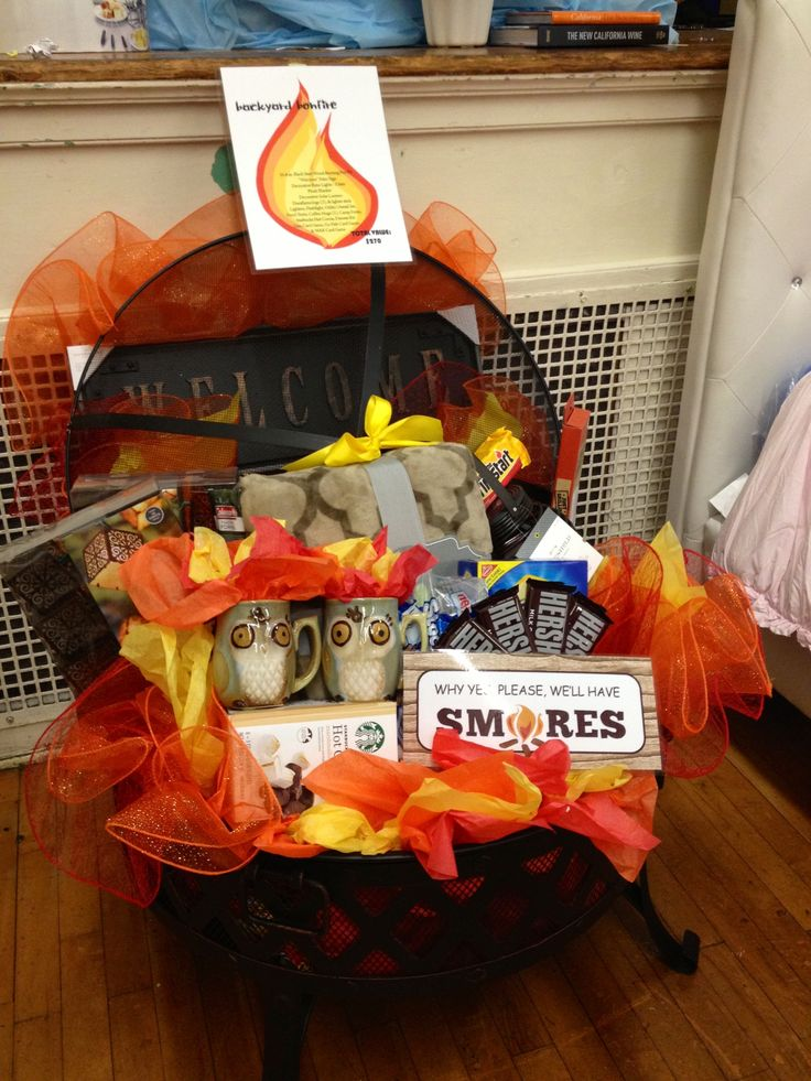 Fire pit auction basket  Auction basket ideas  Pinterest  Auction Shower gifts and Backyards