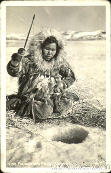 Eskimo Woman Fishing Through Ice In Alaska Photograph Alaska