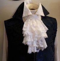 Fancy White JABOT - Embroidered Lace Ascot Cravat Necktie ...