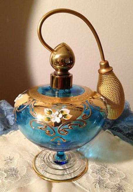 Vintage Bohemian Czech Blue Glass Enamel Gold Perfume Bottle Moser: