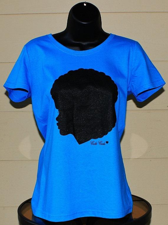 Rhinestones T Shirts Natural Hair
