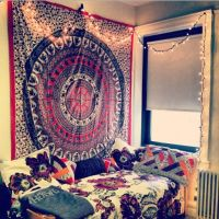 #college #dorm #interiors #tapestry #decor #home #bed ...