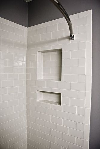 Shelf Cutout Shower Tile White Subway Tile Shower For